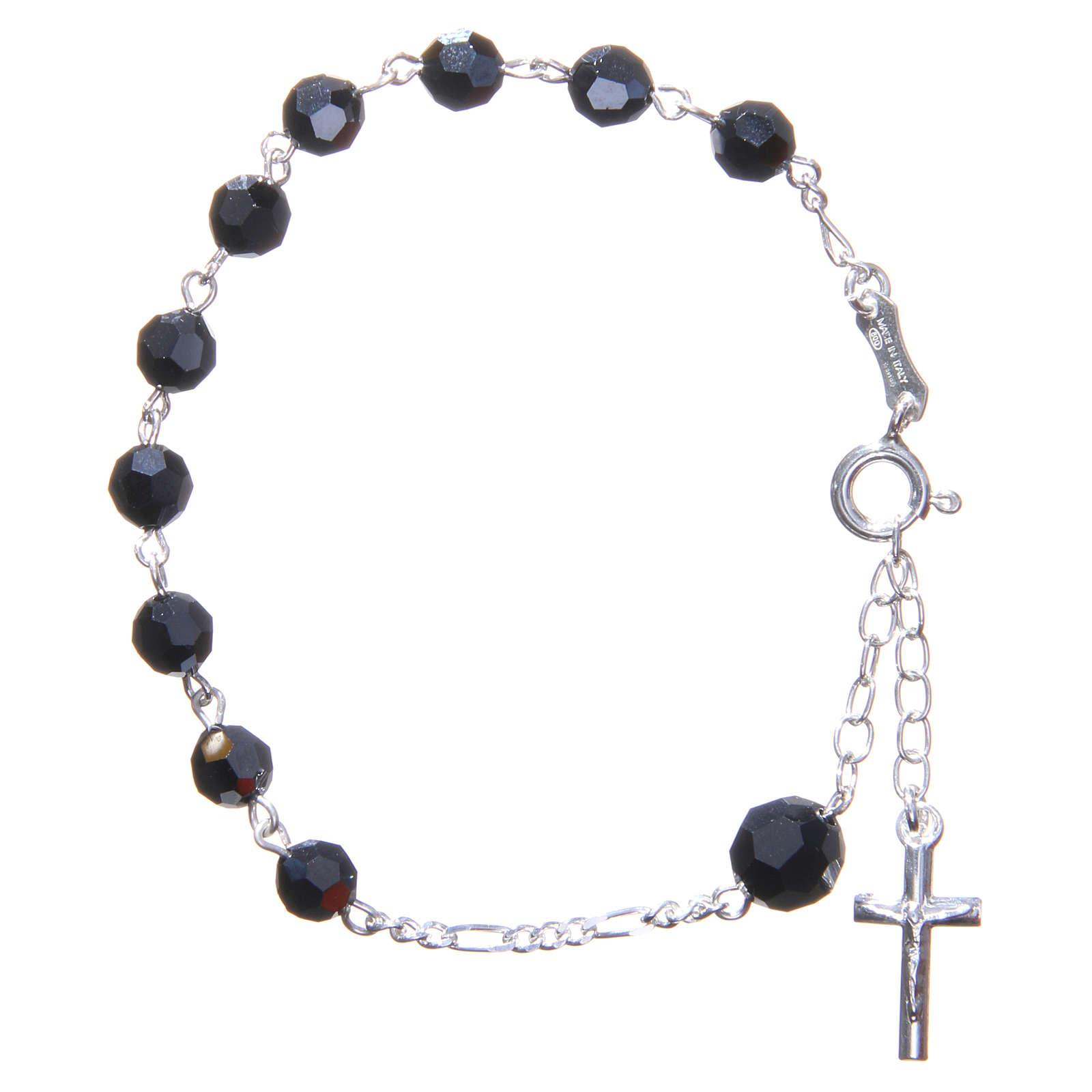 Bracciale rosario cristallo Swarovski 6 mm nero 4