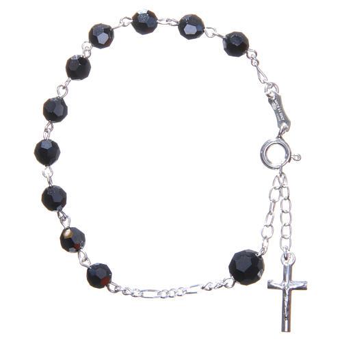 Bracciale rosario cristallo Swarovski 6 mm nero 1