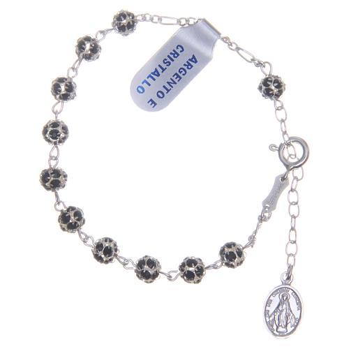 Bracciale rosario grani strass neri 1