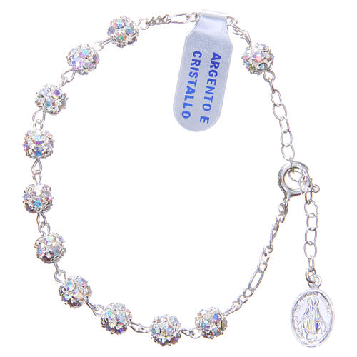 Rosary bracelet in 925 silver with white crystals 1