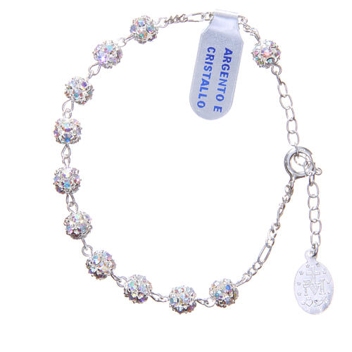 Rosary bracelet in 925 silver with white crystals 2