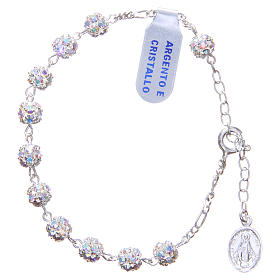 Rosary bracelet in 925 silver with white crystals s1