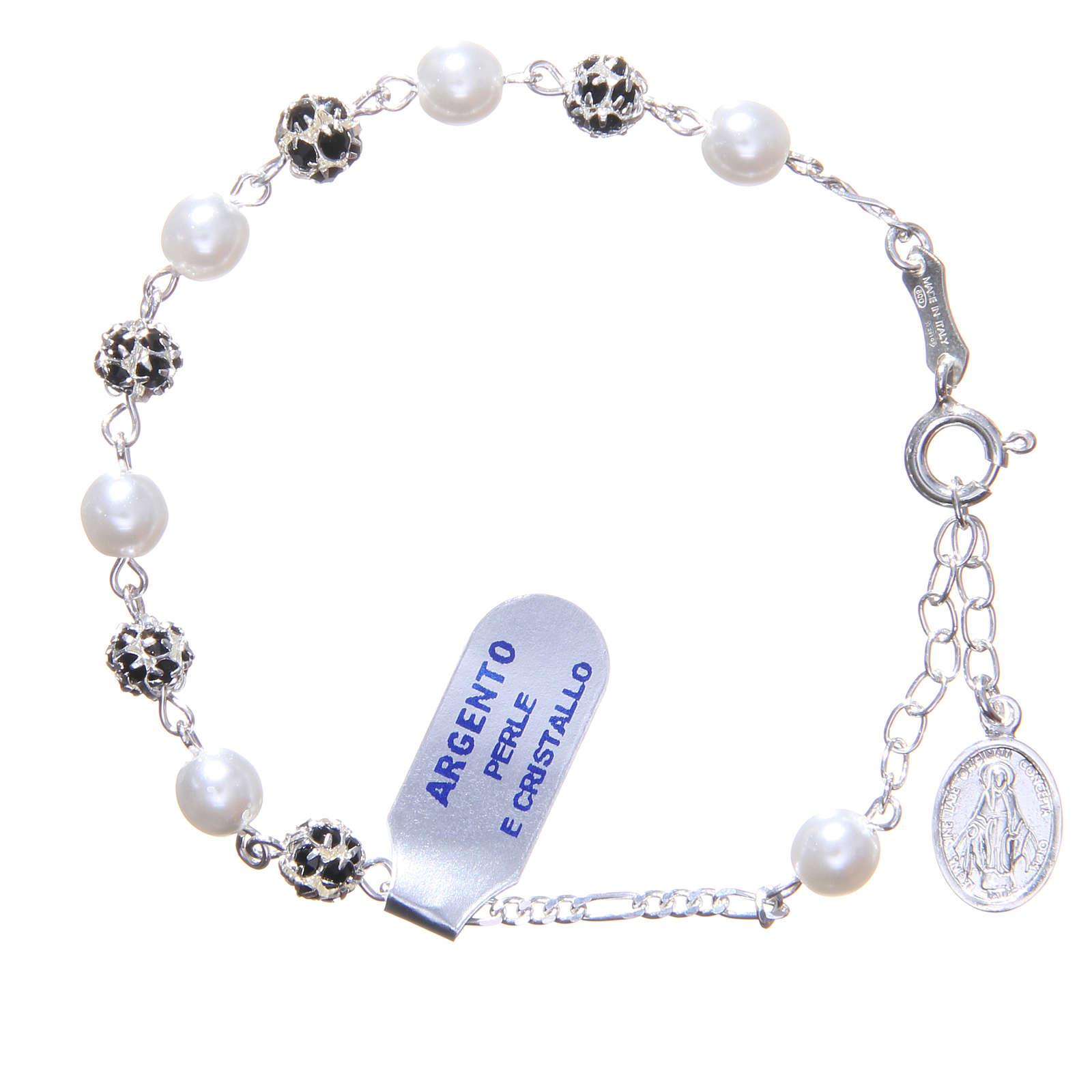 Pulsera rosario granos  strass y perlas 4