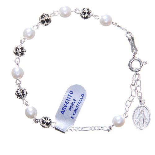 Pulsera rosario granos  strass y perlas 1