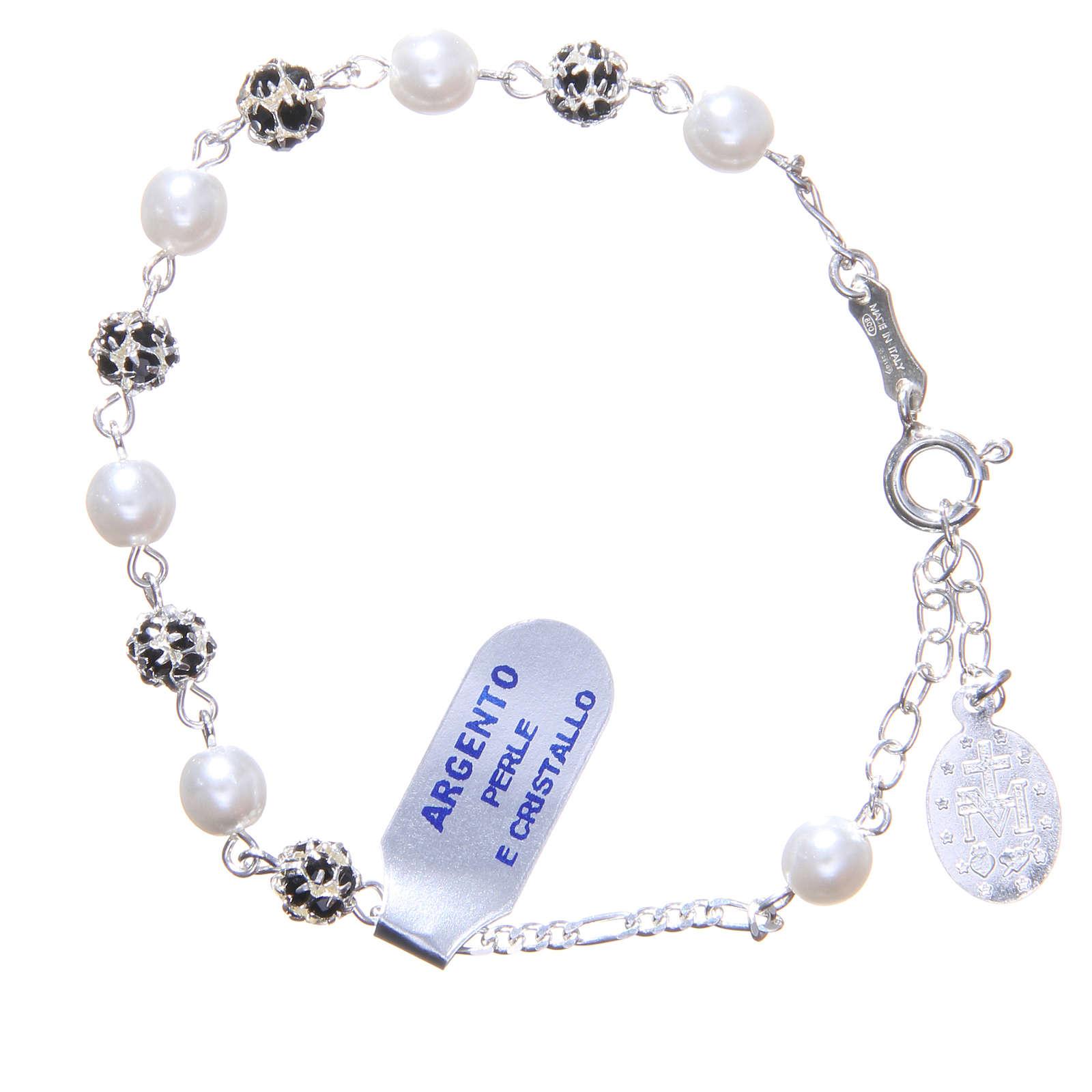 Bracciale rosario grani strass e perle 4