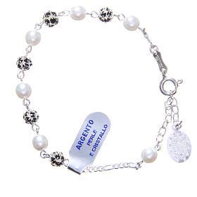 Bracciale rosario grani strass e perle s2