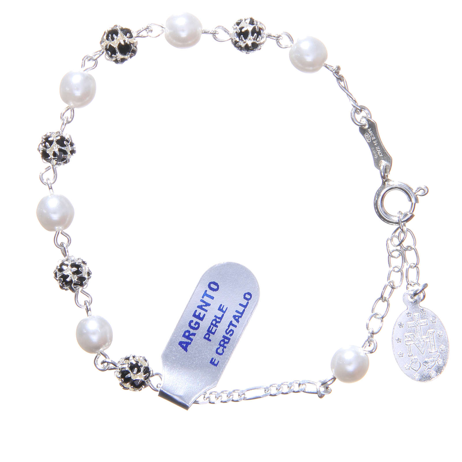 Rosary bracelet in silver with crystals and pearls 4