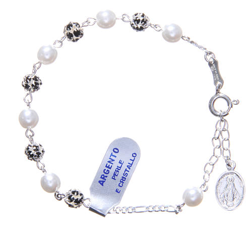 Rosary bracelet in silver with crystals and pearls 1