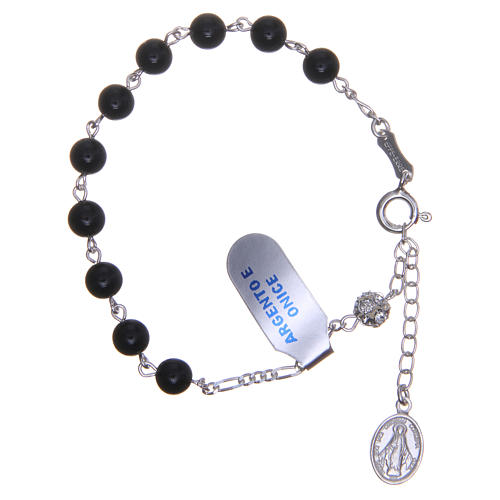 Rosary bracelet in silver with onyx grains 6mm 1