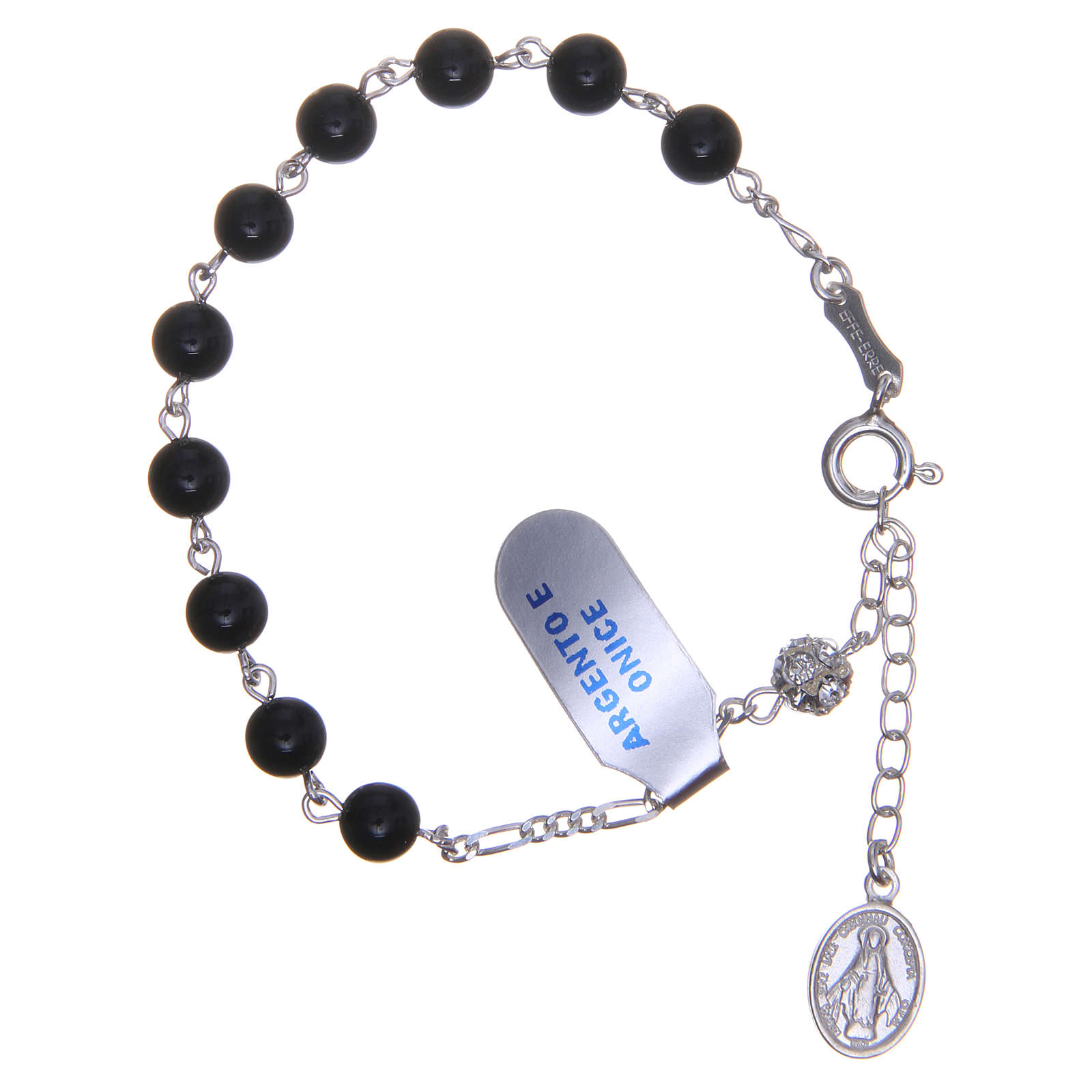 Rosary bracelet in silver with onyx grains 6mm 4
