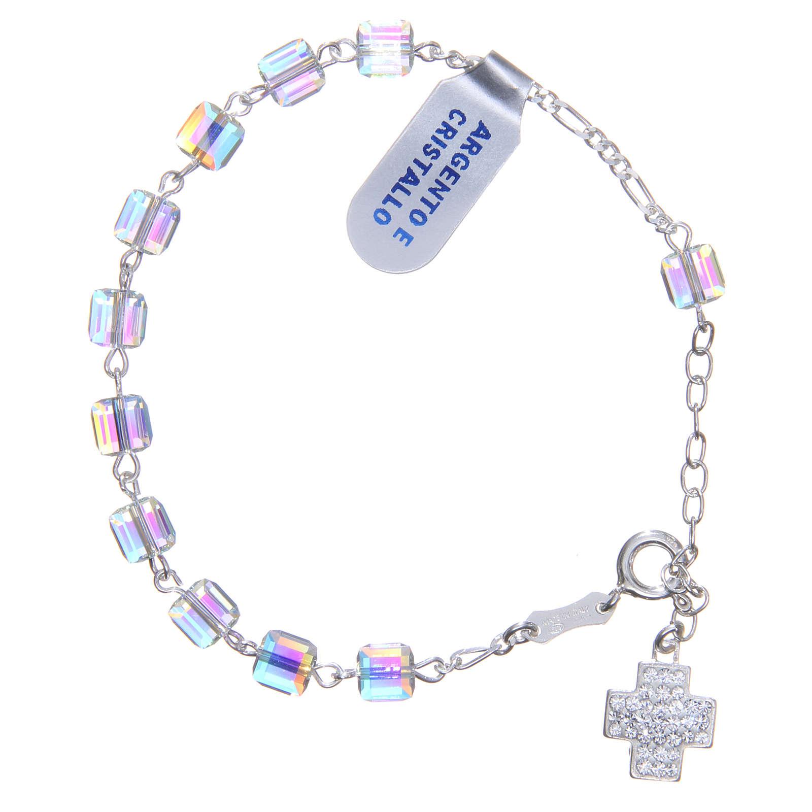 Bracelet chapelet cubes cristaux 6 mm croix 4