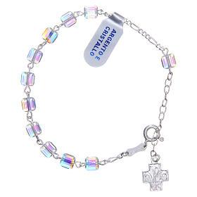 Bracelet chapelet cubes cristaux 6 mm croix s1