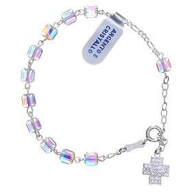 Bracelet chapelet cubes cristaux 6 mm croix s2