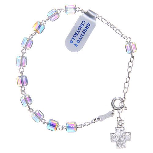 Bracelet chapelet cubes cristaux 6 mm croix 1