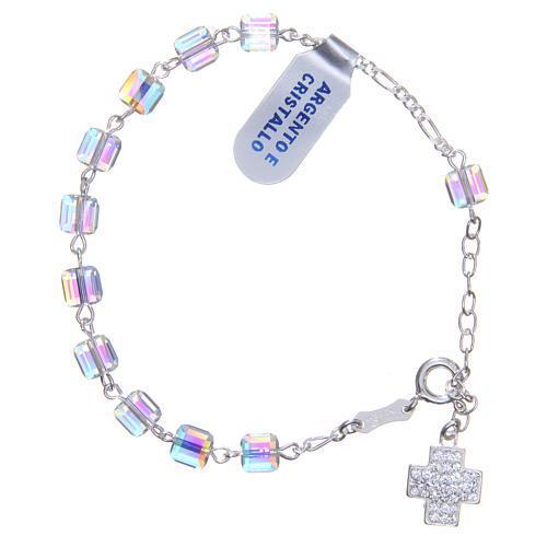 Bracelet chapelet cubes cristaux 6 mm croix 2
