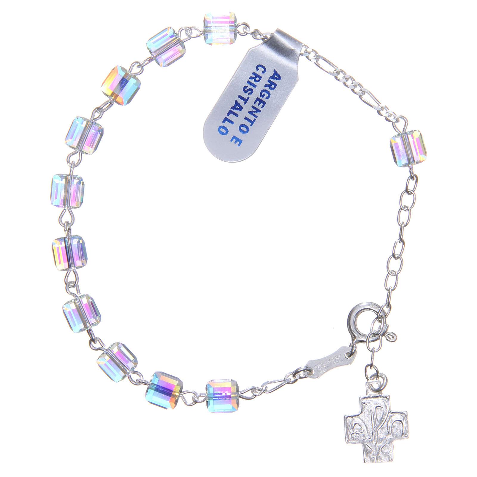Bracciale rosario cubi cristallo 6 mm croce 4