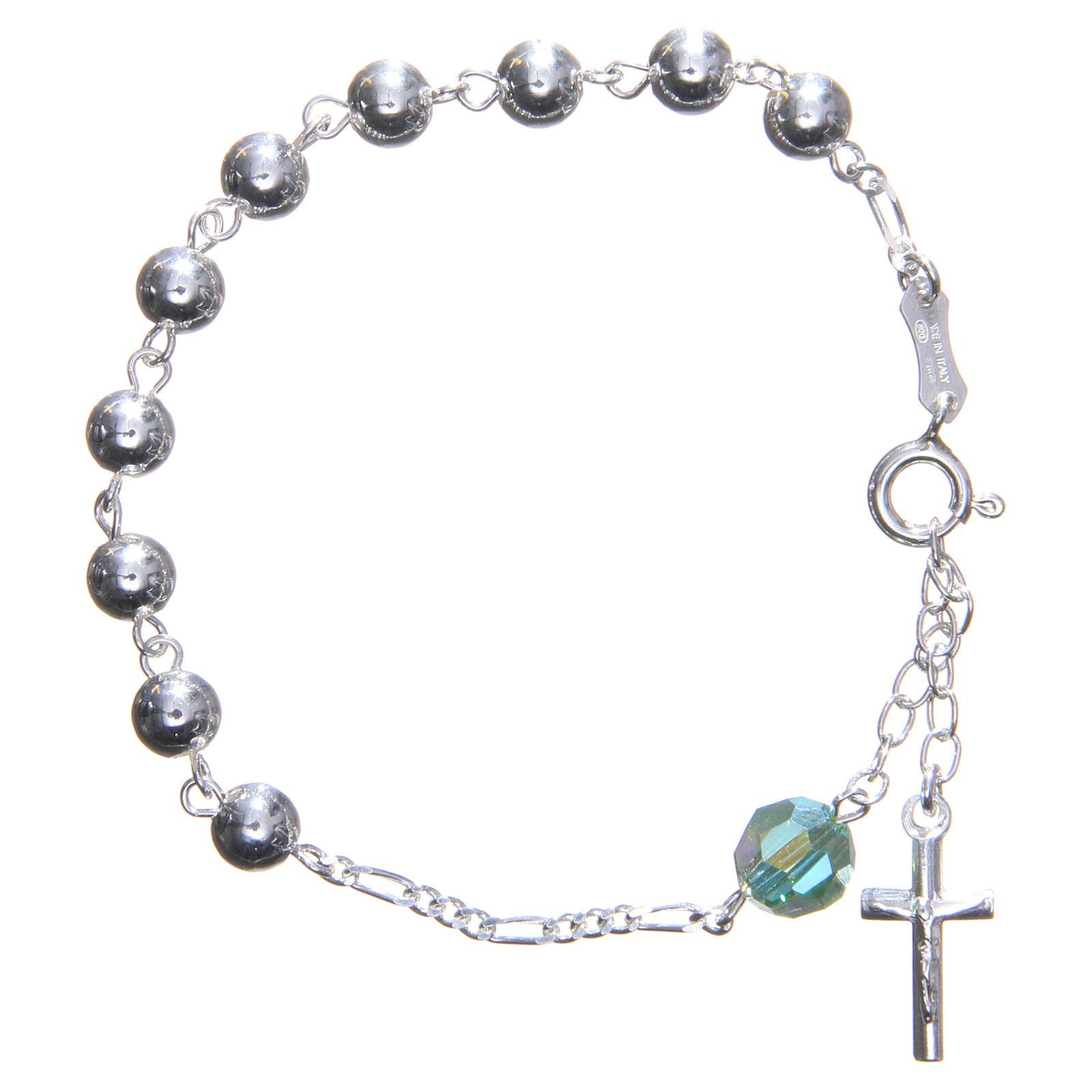 Bracelet argent 800 6 mm pater Swarovski vert 4