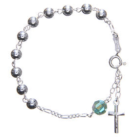 Bracelet argent 800 6 mm pater Swarovski vert s1