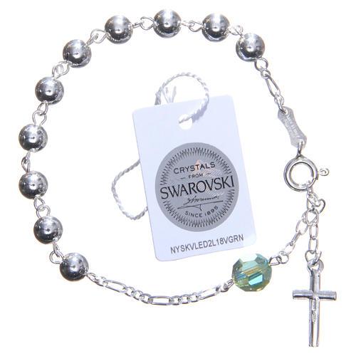 Bracelet argent 800 6 mm pater Swarovski vert 2
