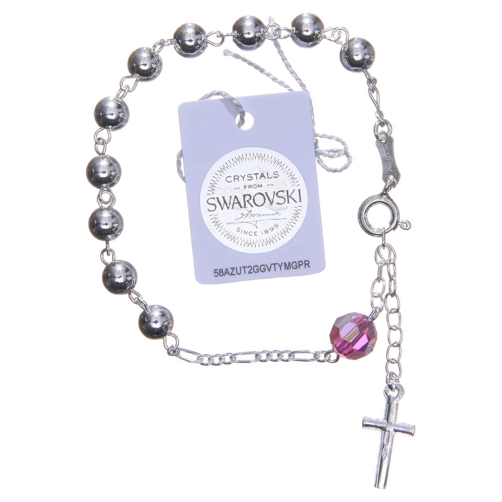 Bracelet argent 800 6 mm pater Swarovski rose 4