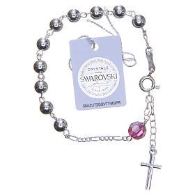 Bracelet argent 800 6 mm pater Swarovski rose s2