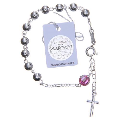 Bracelet argent 800 6 mm pater Swarovski rose 2