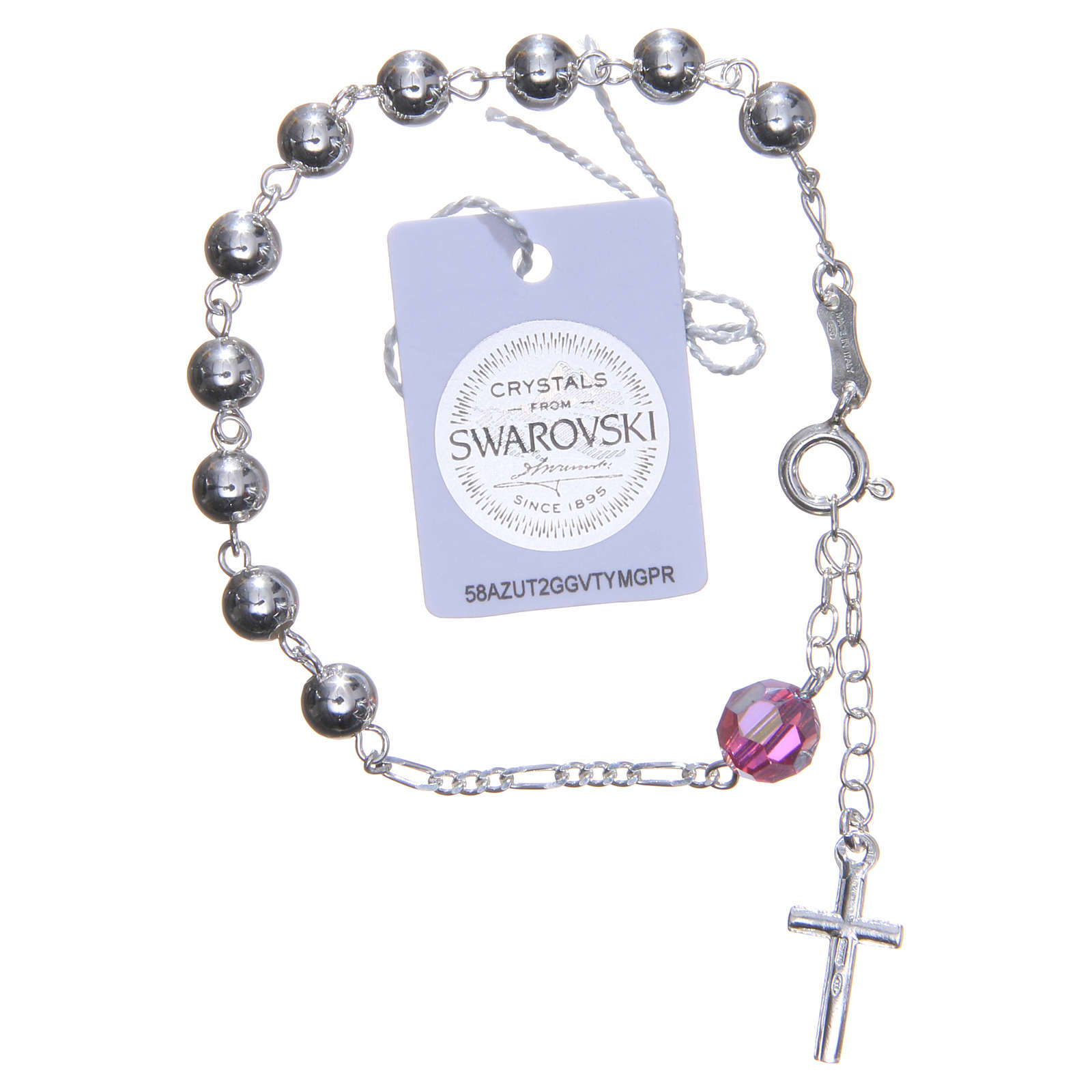 Rosary bracelet in 800 silver, 6mm and pater beads in pink Swarovski 4