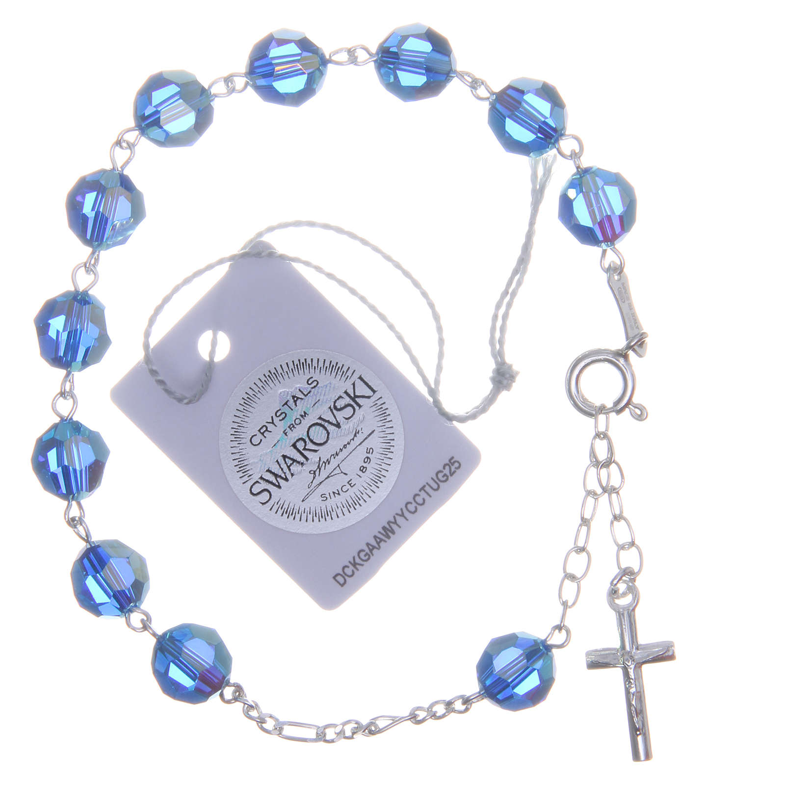 cfb81d6b7 Rosary bracelet in 925 silver with grains measuring 8mm in light blue  Swarovski 4