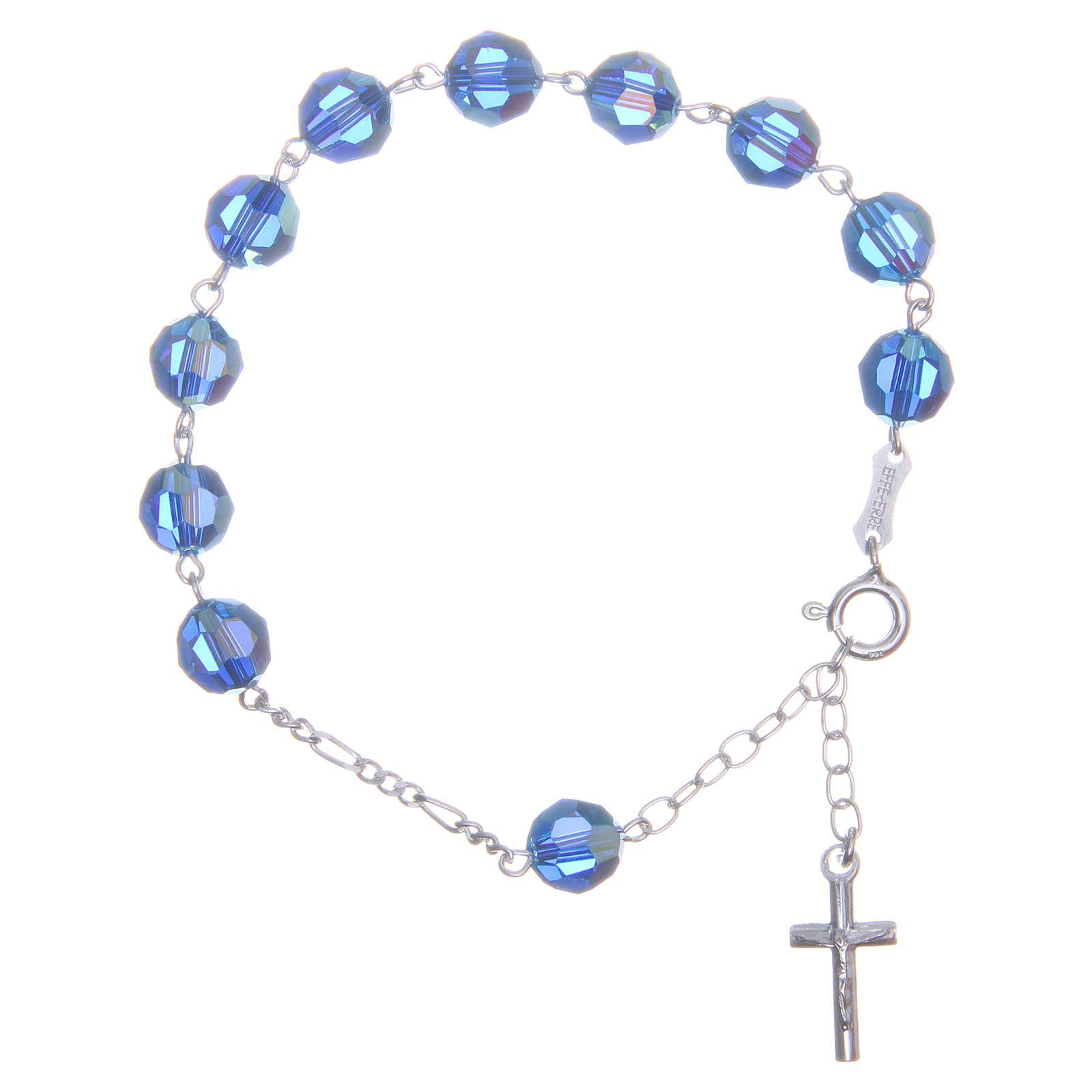 Bracciale argento 800 cristallo Swarovski 8 mm azzurro 4