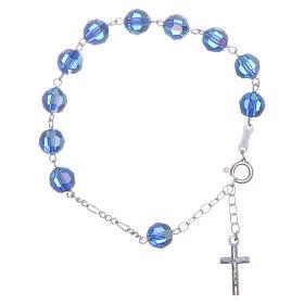 Bracciale argento 800 cristallo Swarovski 8 mm azzurro s1