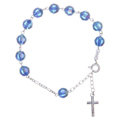 Bracciale argento 800 cristallo Swarovski 8 mm azzurro 1