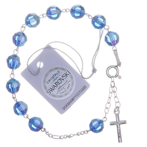 Bracciale argento 800 cristallo Swarovski 8 mm azzurro 2