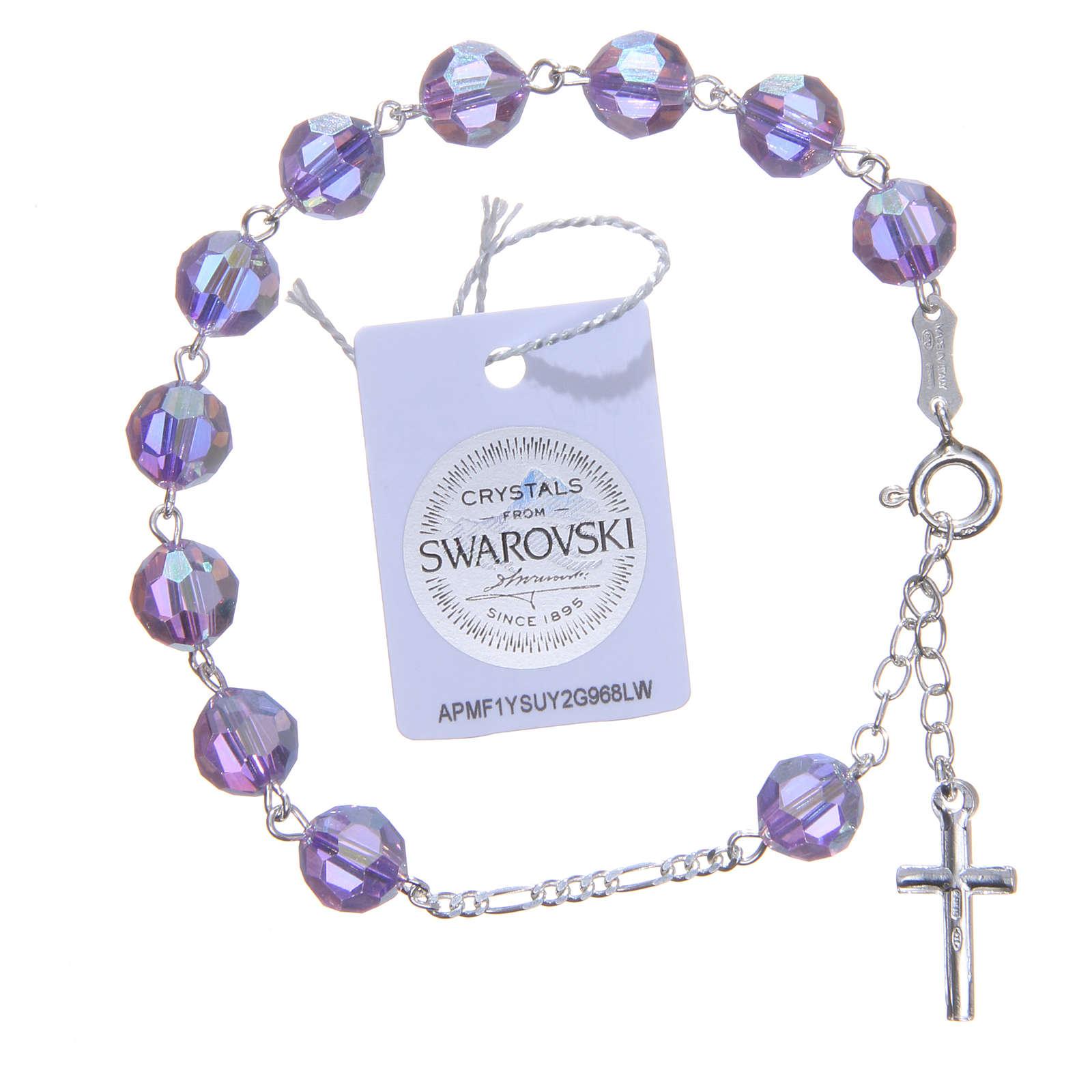 Rosary bracelet in 800 silver with grains measuring 8mm in purple Swarovski 4