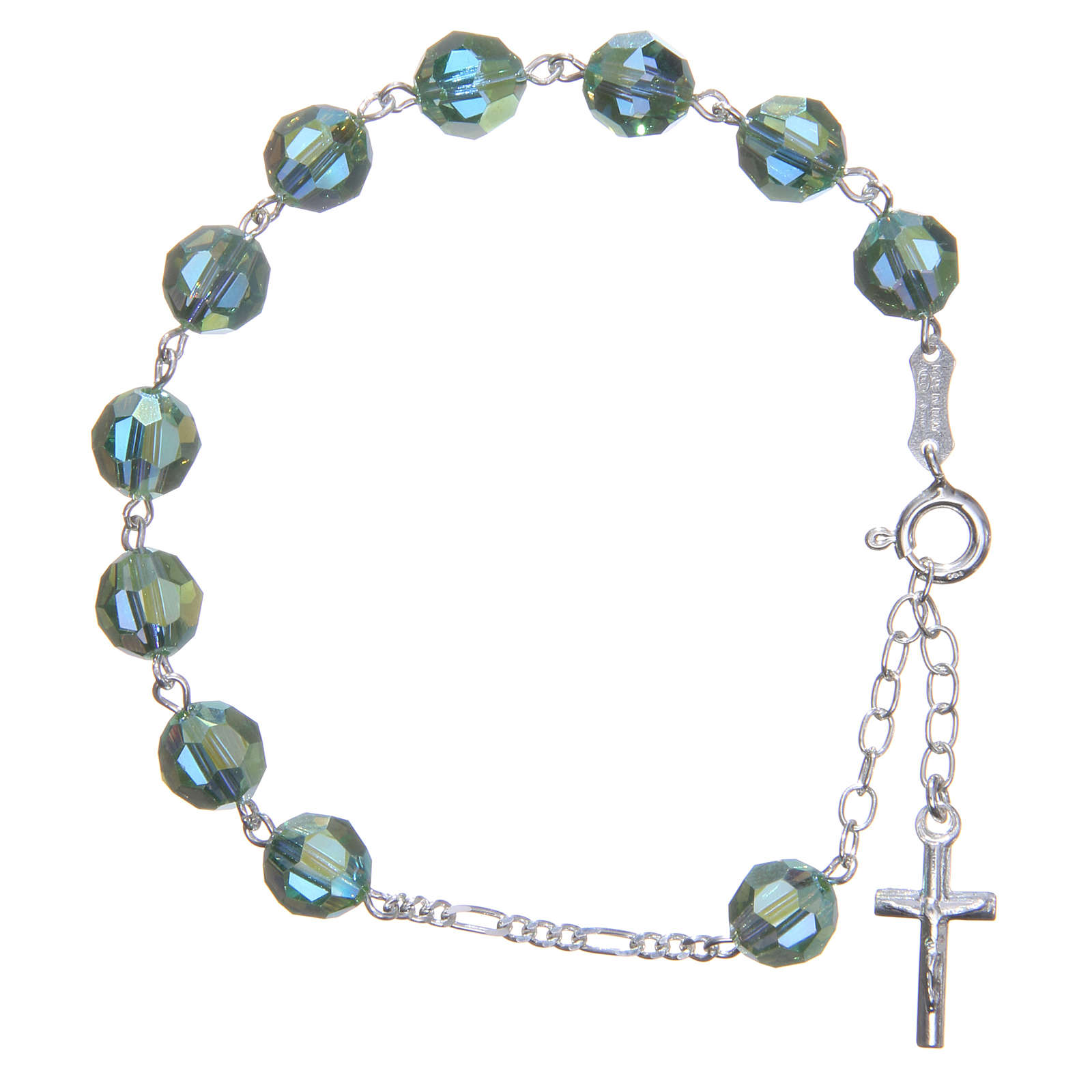 Zehner Armband Silber 800 grünen Swarovski Perlen 8mm 4