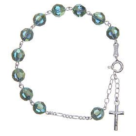 Zehner Armband Silber 800 grünen Swarovski Perlen 8mm s1