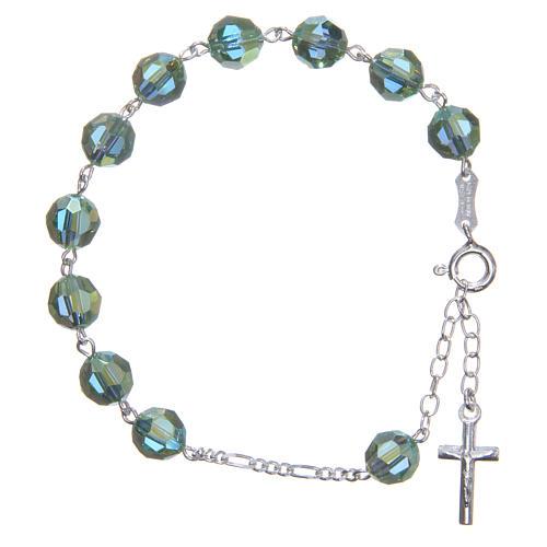 Zehner Armband Silber 800 grünen Swarovski Perlen 8mm 1