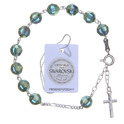 Zehner Armband Silber 800 grünen Swarovski Perlen 8mm 2