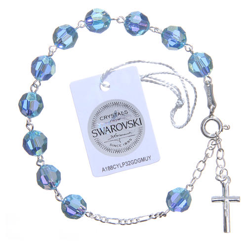Bracciale argento 800 cristallo Swarovski 8 mm celeste 2