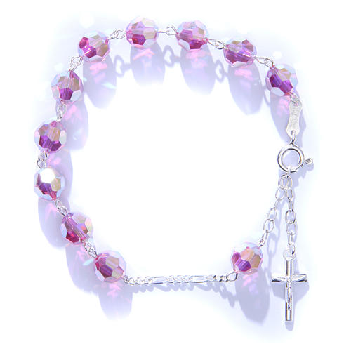 Rosary bracelet in 800 silver with grains measuring 8mm in pink Swarovski 3