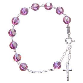 Bracelet argent 800 cristaux Swarovski 8 mm rose s1