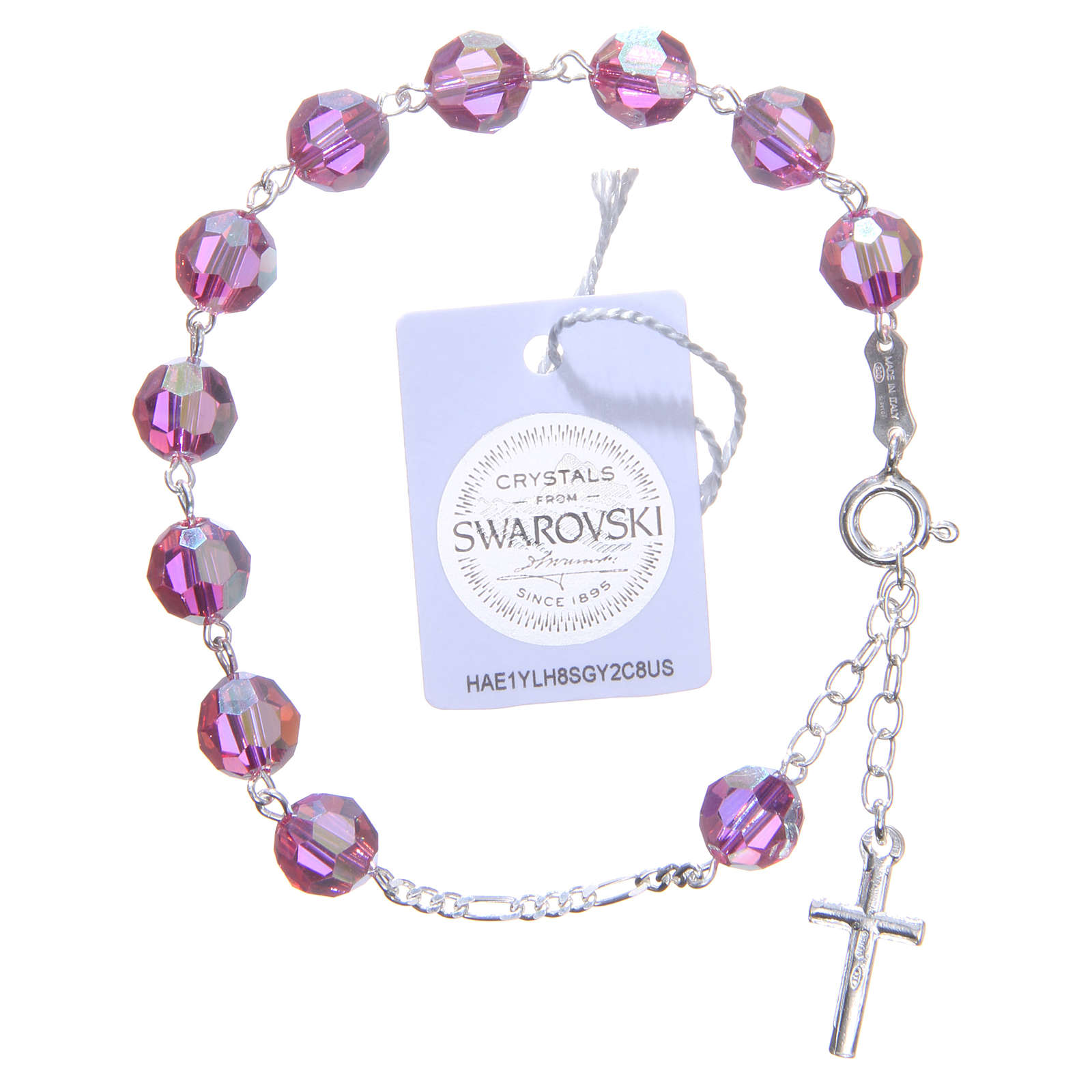 Bracciale argento 800 cristallo Swarovski 8 mm rosa 4