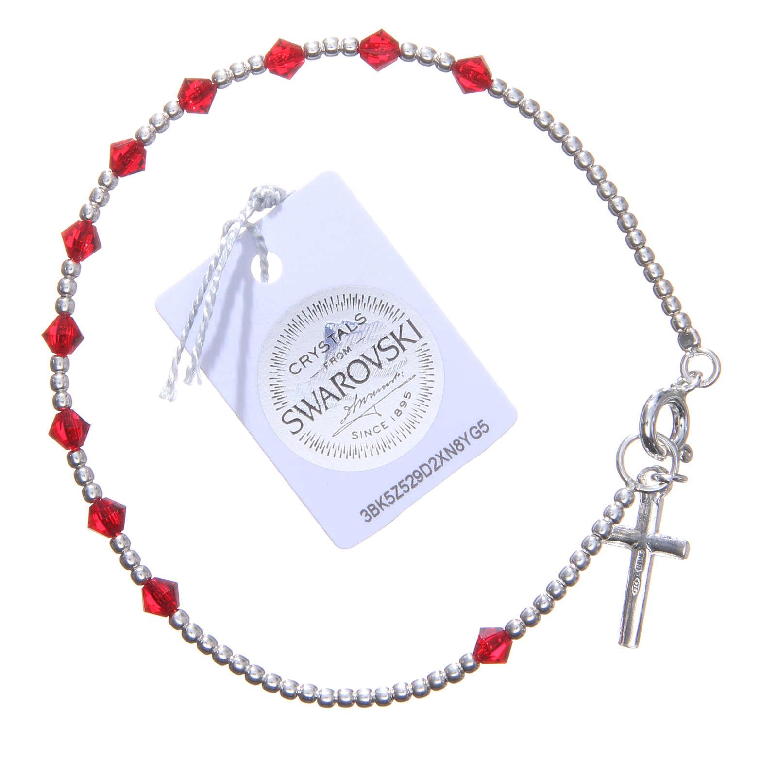 Bracelet argent 800 cristaux Swarovski coniques 4 mm rouges 4