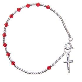 Bracelet argent 800 cristaux Swarovski coniques 4 mm rouges s1