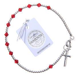 Bracelet argent 800 cristaux Swarovski coniques 4 mm rouges s2