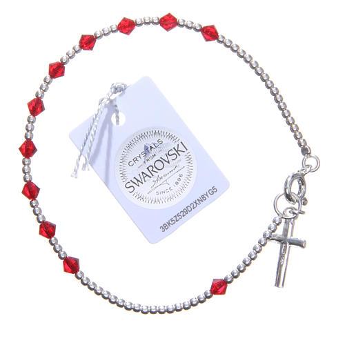 Bracciale argento 800 cristallo Swarovski conico 4 mm rosso 2