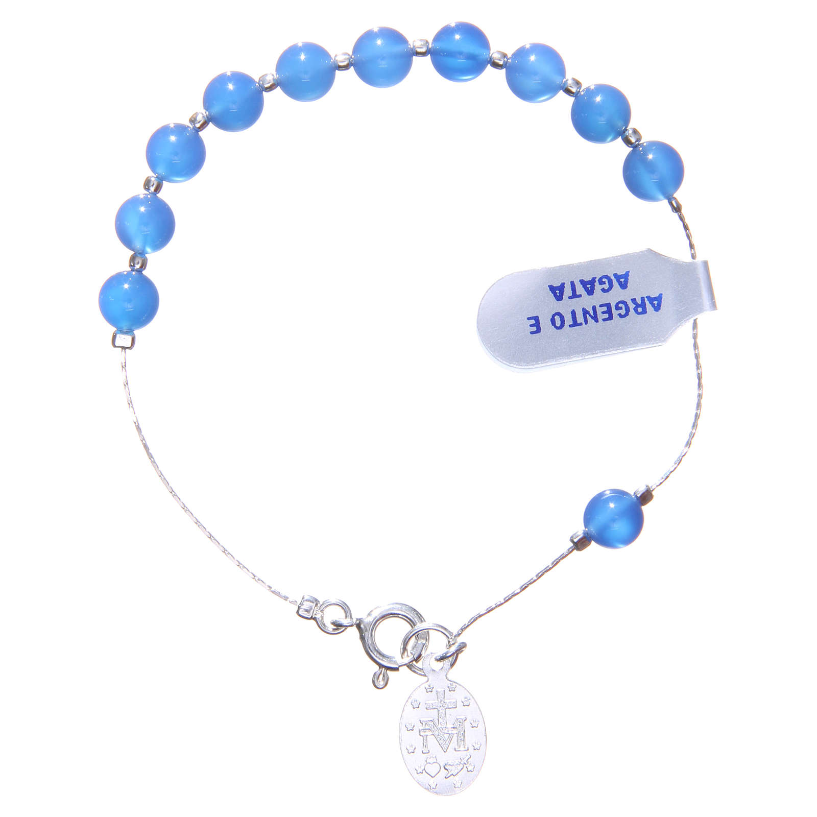 Bracciale argento 925 agata blu 6 mm 4