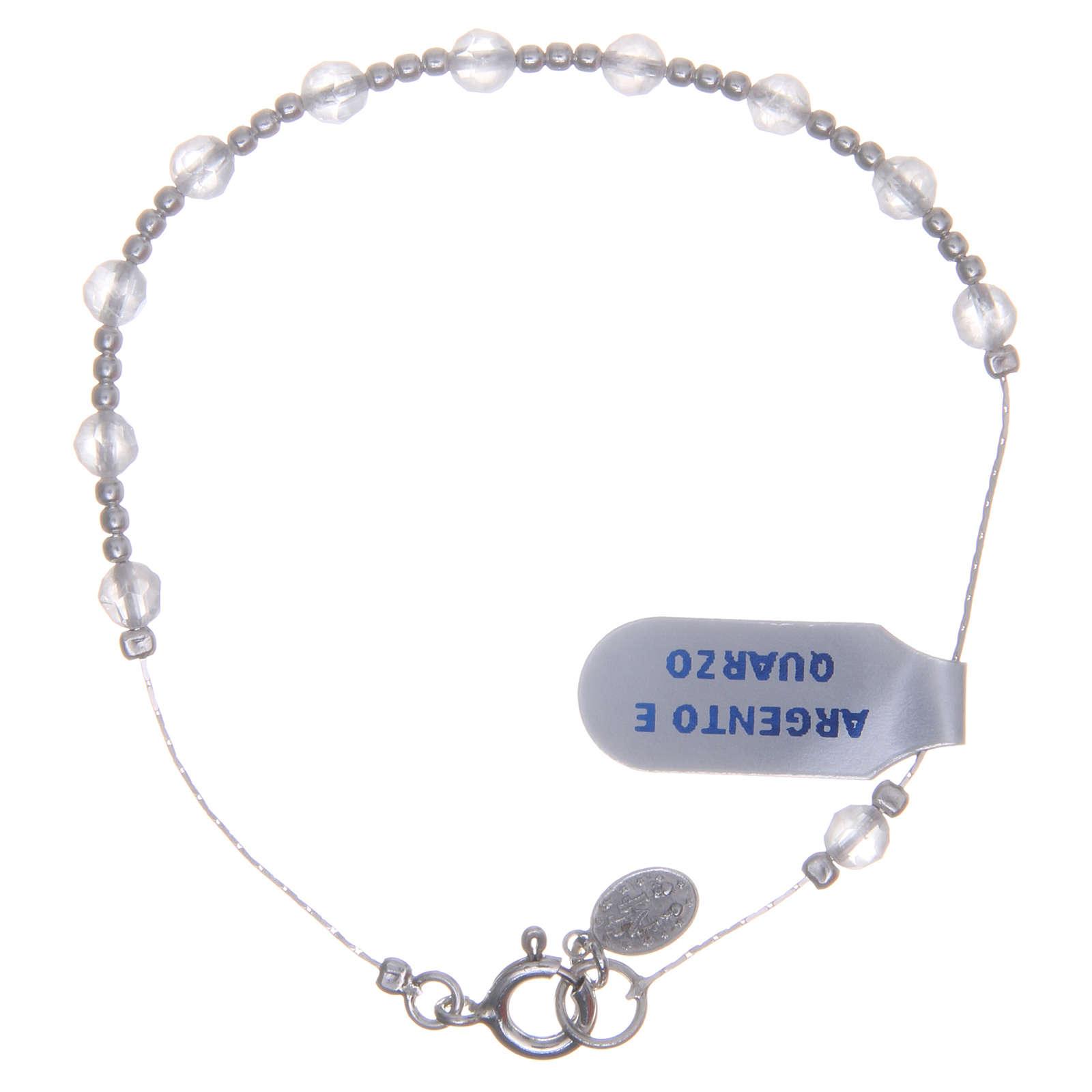 Bracciale argento 800 quarzo rosa 4 mm 4