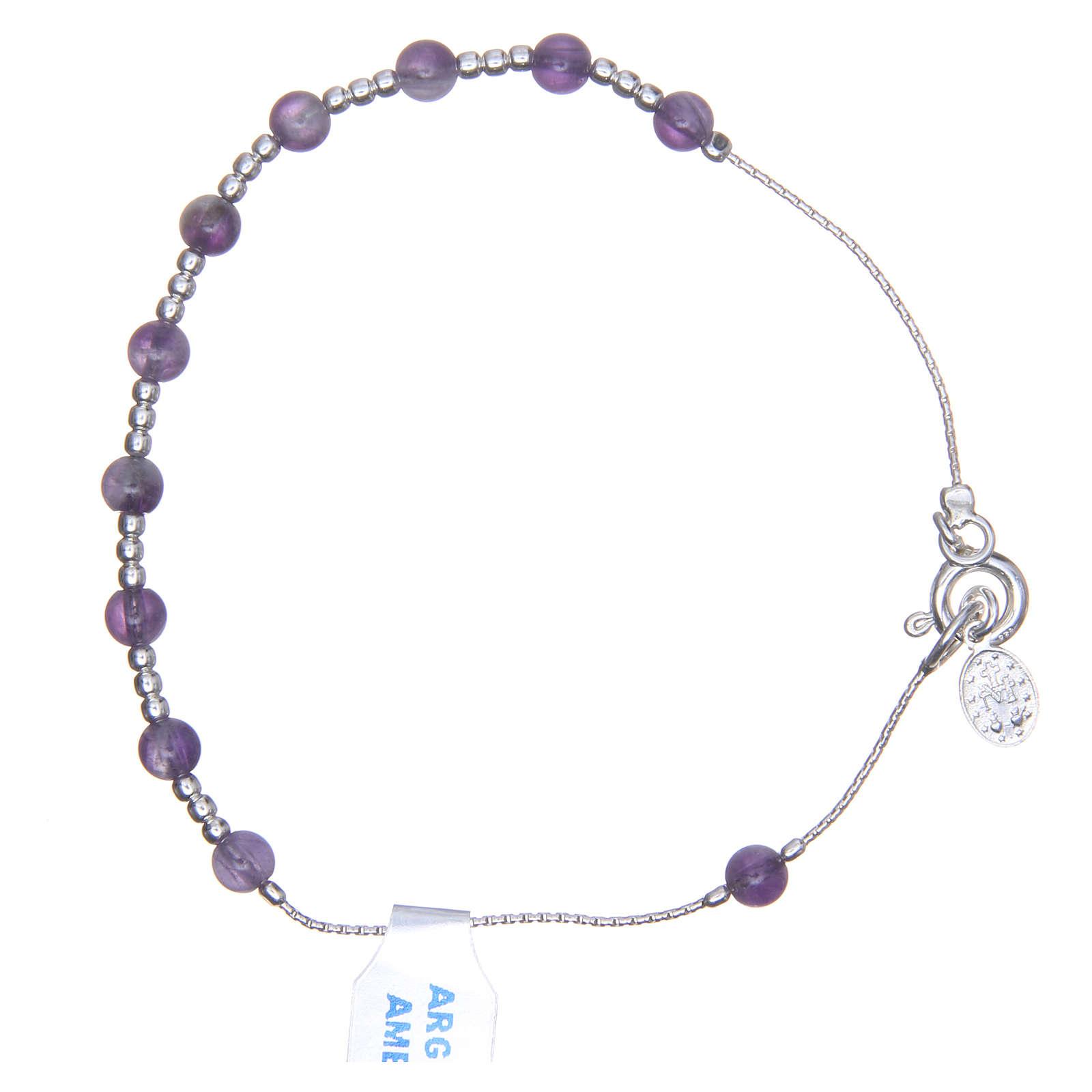 Bracciale rosario argento 800 ametista 4 mm 4