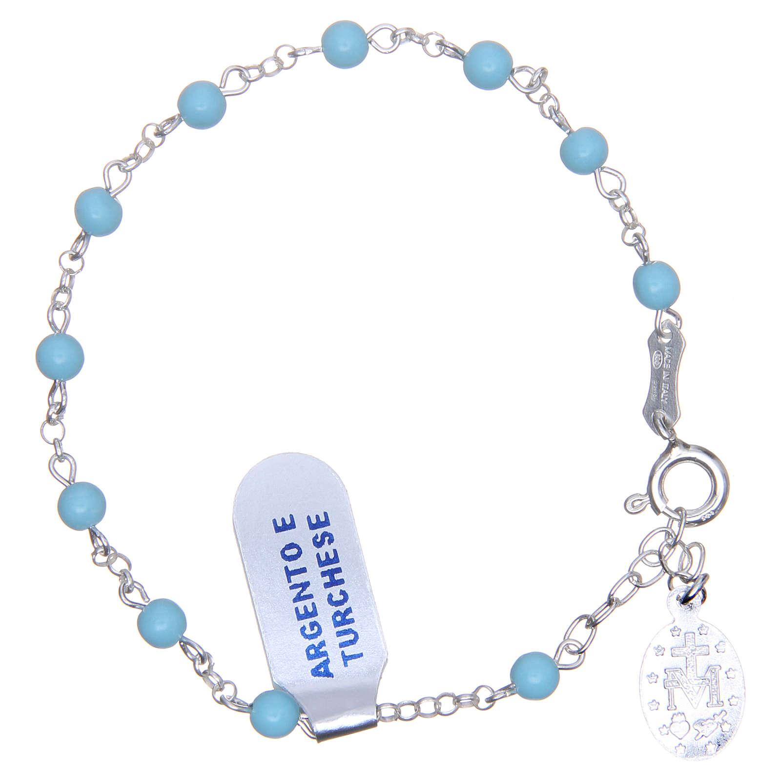 Bracciale rosario turchese argento 925 4 mm 4
