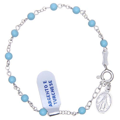 Bracciale rosario turchese argento 925 4 mm 1
